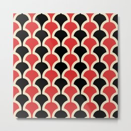 Classic Fan or Scallop Pattern 439 Black and Red Metal Print