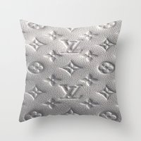 lv Throw Pillows featuring Silver LV  by Luxe Glam Decor