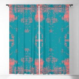 Living Coral Turquoise Shibori Tye Dye Blackout Curtain