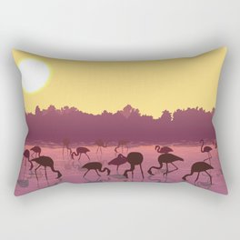 the flaminco birds are on the beach Rectangular Pillow