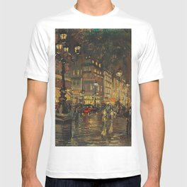 A Lovely Night in Paris, Portrait of Two women amid city lights painting by Konstantin Korovin T-shirt