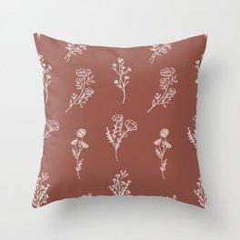 Botanical Wildflowers Line Art Throw Pillow