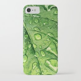 Green leaf with drops iPhone Case