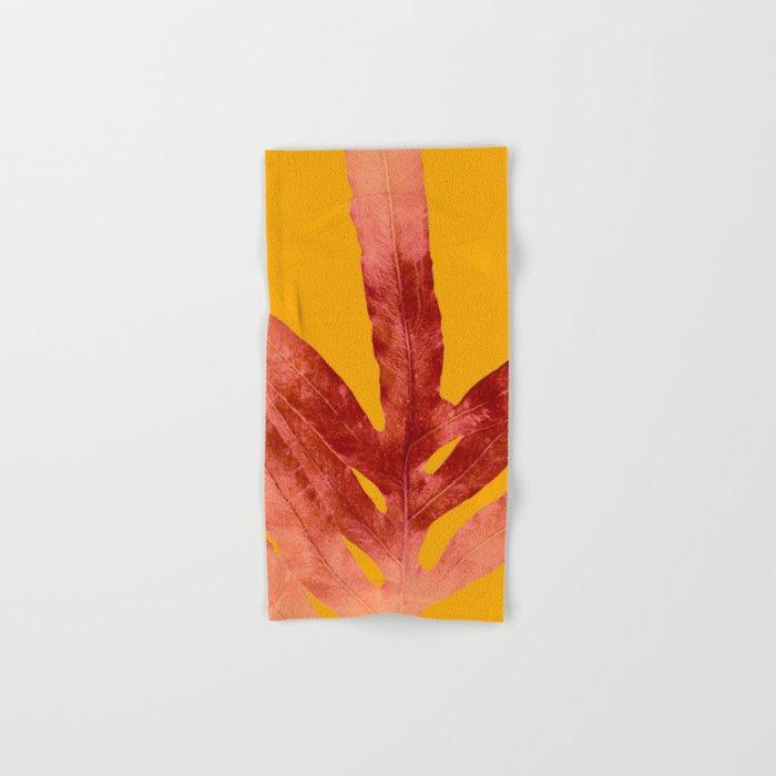 Green Fern on Red On Fire Hand & Bath Towel