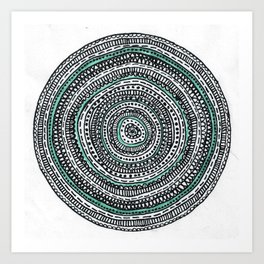 Mandala with a touch of pastel green Art Print