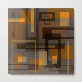 Mid Century Modern Blocks on Taupe Metal Print