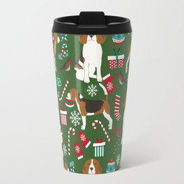 Beagle christmas dog print cute beagle christmas print love beagles Travel Mug