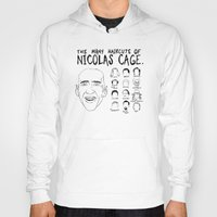 nicolas cage Hoodies featuring The Many Haircuts Of Nicolas Cage. by Stewart Chown