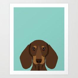 Doxie Portrait - Chocolate and Tan dog design - cute dachshund face Art Print