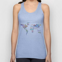 world map watercolor typography 1 Unisex Tank Top