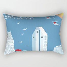 San Diego, California - Skyline Illustration by Loose Petals Rectangular Pillow
