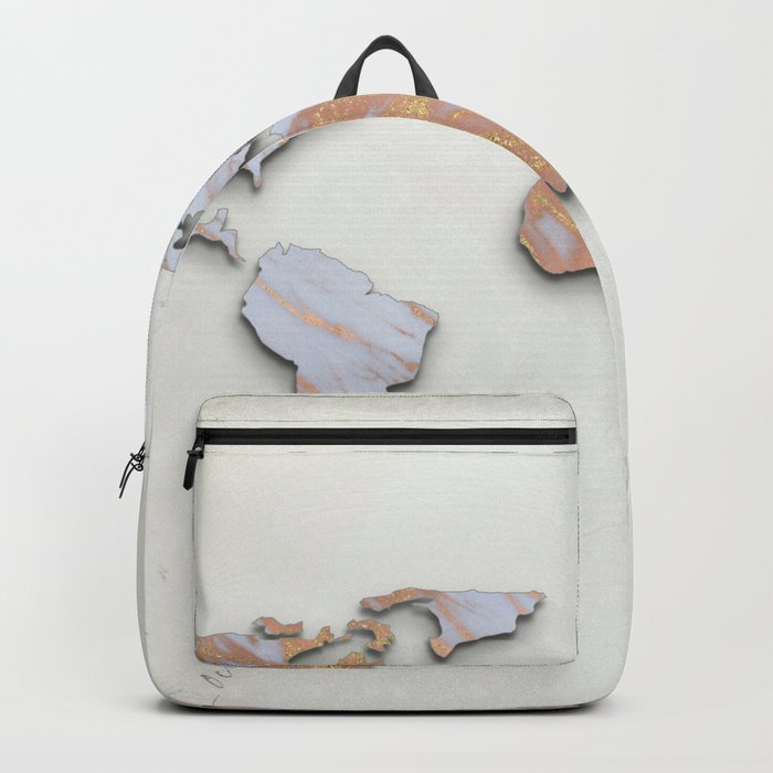 Rose Gold Marble Map - RoseGold World II Backpack