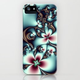 Golden Fractal Vines iPhone Case