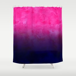 Boho pink navy blue watercolor ombre gradient fade Shower Curtain