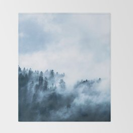 The Wilderness, Foggy Forest Throw Blanket