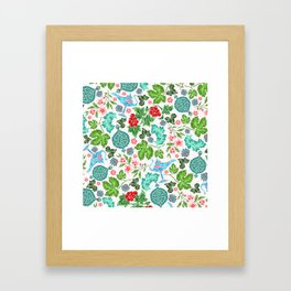 Asian Lucky Floral Pattern With Magical Lanterns Framed Art Print
