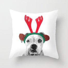 Black and White Boxer Christmas Throw Pillow