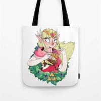 the legend of zelda Tote Bags featuring ZELDA by aadizooke