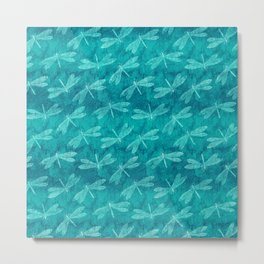 Dragonfly Dance Blue Green Metal Print