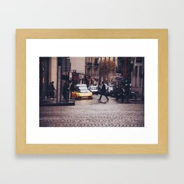 ITALIAN - YELLOW - MAN - STREETS - SUPERCAR - PHOTOGRAPHY Framed Art Print