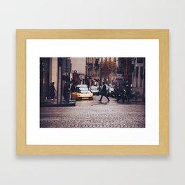 ITALIAN - YELLOW - MAN - STREETS - SUPERCAR - PHOTOGRAPHY Framed Art Print