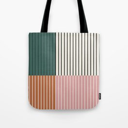 Color Block Line Abstract V Tote Bag