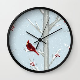 Red Cardinal Bird In The Winter Forest Wall Clock