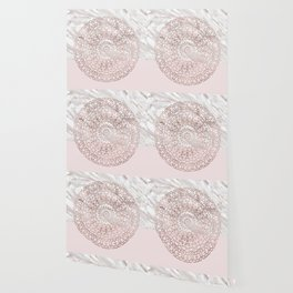 Rose gold mandala - blush pink & marble Wallpaper