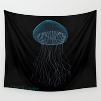 jelly fish Wall Tapestries featuring Bioluminescent Crystal Jelly Fish  by Just Jolt