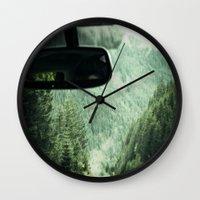 drive Wall Clocks featuring Drive by Hannah Kemp