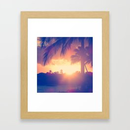 Hawaii Sunset Palm Tree Framed Art Print