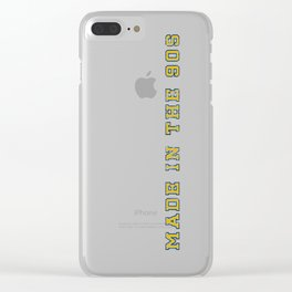 Made in the 90s Blue and Yellow Clear iPhone Case