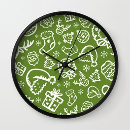 XMAS Green Pattern / Part Two Wall Clock