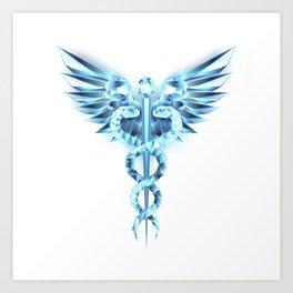 Blue Caduceus Symbol Art Print