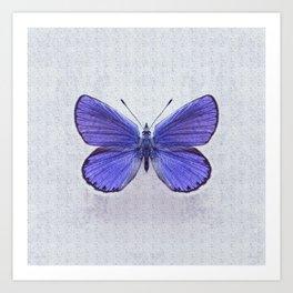 Violet Butterfly on Floral Background. Art Print