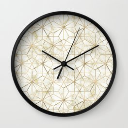 Modern gold and marble geometric star flower image Wall Clock