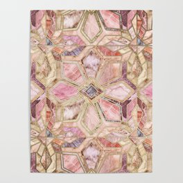 Geometric Gilded Stone Tiles in Blush Pink, Peach and Coral Poster