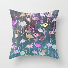After Dark Flamingo Party  Throw Pillow