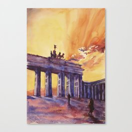 Brandenburg Gate at sunset in the city of Berlin- Germany, Euro Canvas Print