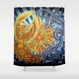 Chinese Phoenix and Dragon Mandala Shower Curtain