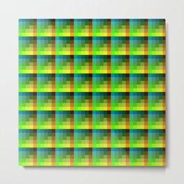 Blue And Green Geometric Pixel Tile Pattern Metal Print
