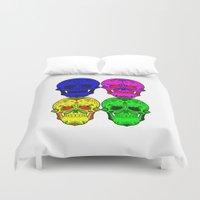 sugar skulls Duvet Covers featuring Sugar Skulls by Spooky Dooky