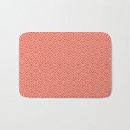 Pantone Living Coral Scallop Wave Pattern and Polka Dots Bath Mat