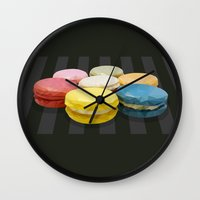 macaroon Wall Clocks featuring geometric macaroon sweet by artsimo