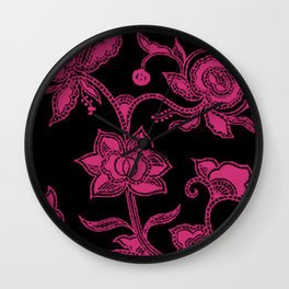 Vintage Floral Pink Yarrow and Black Wall Clock
