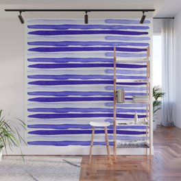 Ultra Violet Watercolour Stripes Wall Mural