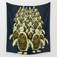 penguins Wall Tapestries featuring penguins by Kiryadi