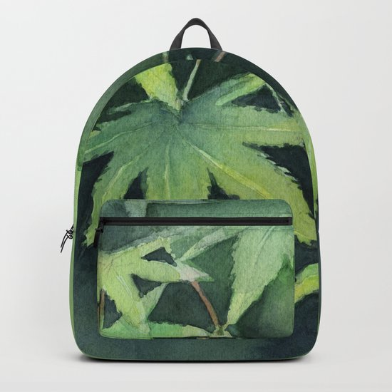 Japanese Maple Watercolor Green Leaves Tree Branch Nature Backpack