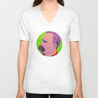 nietzsche V-neck T-shirts featuring Colorful Nietzsche by TheMessianicManic