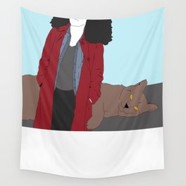 Six and Wolf Cat Wall Tapestry